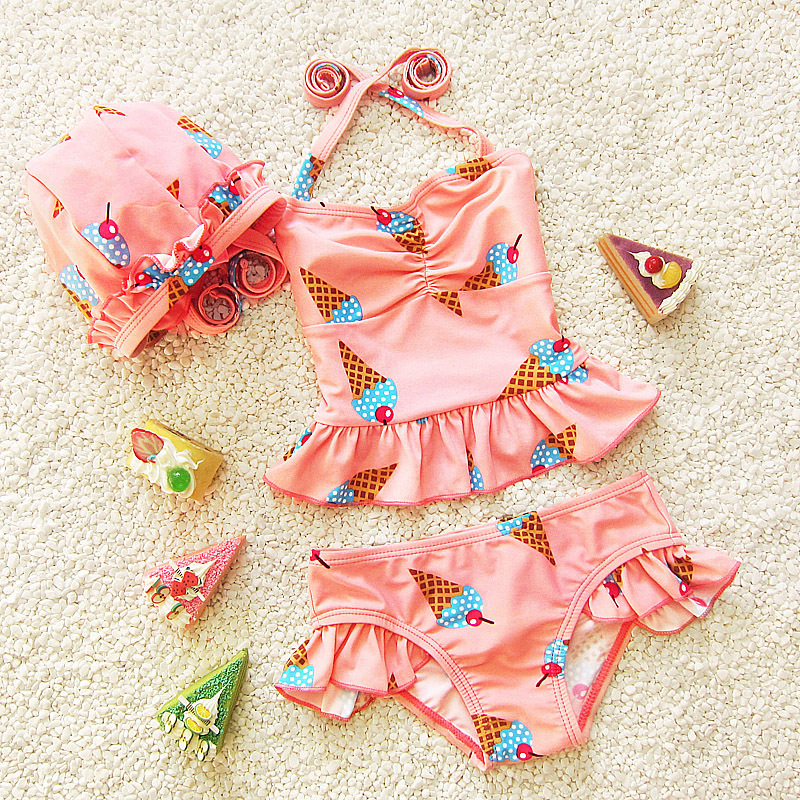 Baby Girl Swimwear Lovely Ice Cream Printed Swimsuits Lovely Bekini Set Summer Babys Children Bathing Suit Купальник