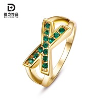 Romantic Wedding Anniversary Gift Women S Geometric Cross Green Rhinestone Ring Tin Alloy Rings Jewelry