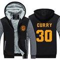 2016 Carta de Impressão Hoodies Inverno dos homens Stephen Curry 30 MVP Impressão Engrossar Casacos de Zíper EUA UE tamanho Plus Size