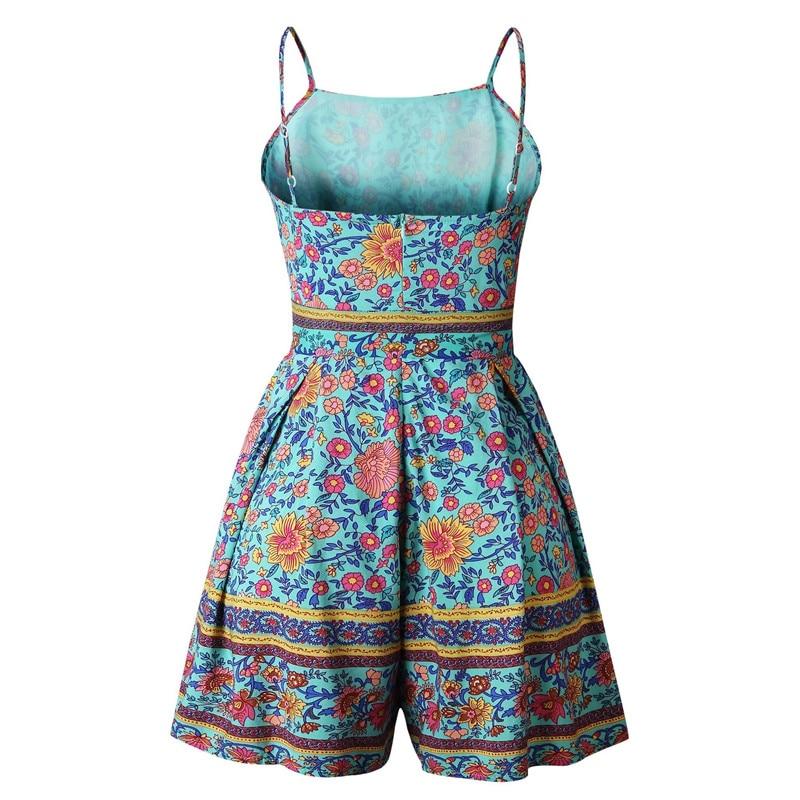 Leviortin Designer Jumpsuit High Quality Women Floral Romper With Belt Bohemian Strapless Boho Flower Print Beach Playsuit  (2)