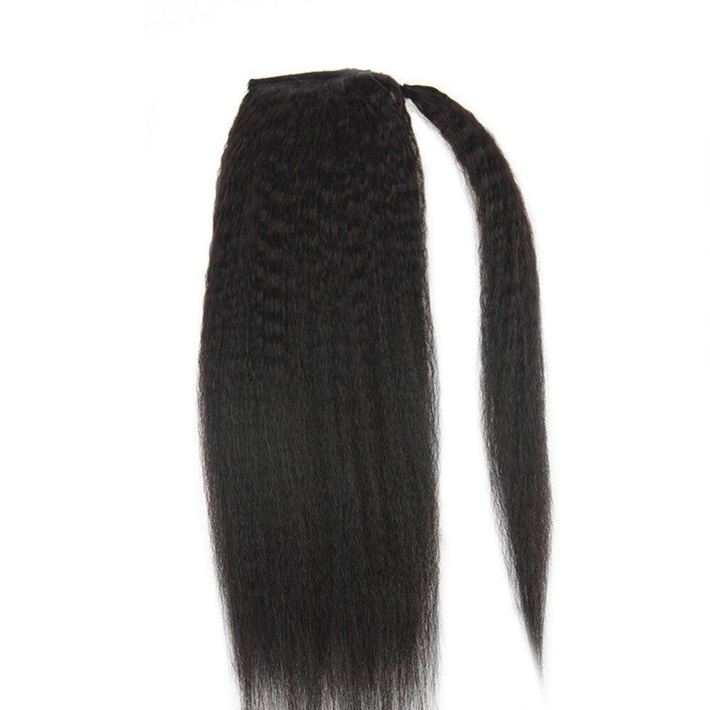 Полный блеск хвост Расширения странный прямо для Для женщин 100 г Цвет # 1B натуральный черный 100% Реми Человеческие волосы хвост Расширения