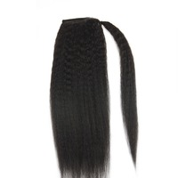 Full Shine Ponytail Extensions Kinky Straight For Women 100g Color 1B Natural Black 100 Remy Human