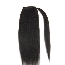 Full Shine Ponytail Extensions Kinky Straight For Women 100g Color #1B Natural Black 100% Remy Human Hair PonyTail Extensions