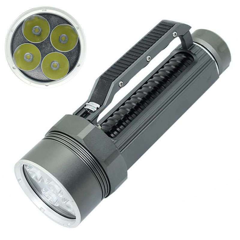 Hight quality XML-L2 10000 Lumens LED Flashlight Bright Scuba Silver diving light Flashlight Torch 4x XML L2 100m diver waterproof diving light photography diver lamps camera flashlight 6x xml l2 4x xpe red 4x xpe blue led uv flashlight