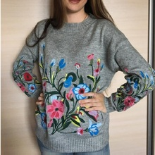 Hchenli 2017 Women Grey Flower Embroidered Sweater Knitwear Ladied Black Wine Red Pullover O-neck Sweatersuit Casual Womens Suit