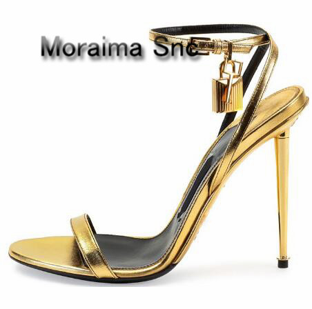 Moraima Snc brand design Golden lock decor women sandals gold sliver metal thin heels high heels shoes women summer stiletto fashion women s sandals with metal and stiletto heel design