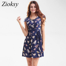 Zioksy New 2017 Fashion Summer Women Dress Short-Sleeved O-Neck Bird Print Casual Bow Belt Crimp Dress vestidos