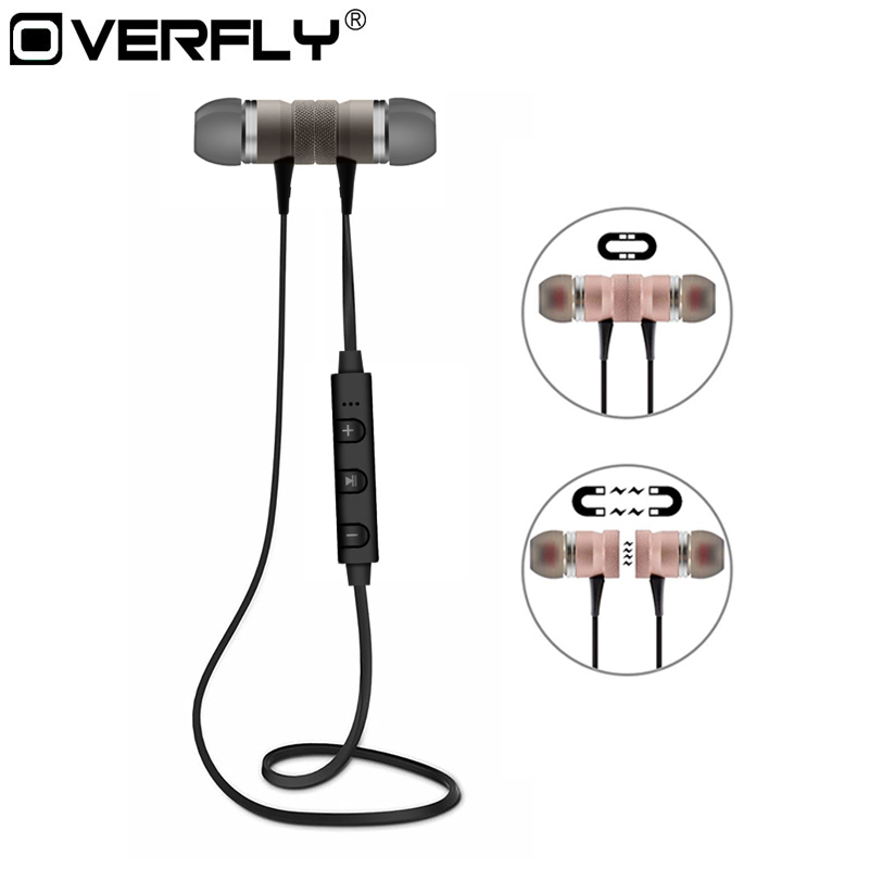 Overfly Metal Magnetic Headphones M98 Sport Running Wireless Bluetooth Earphones Stereo Super Bass Headsets with Mic For iPhone