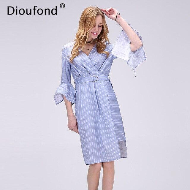 Dioufond Summer Blue Striped Dress Shirt Women Elegant Half Sleeve Waistband  OL Girls Dress 2017 Asymmetrical Vestidos