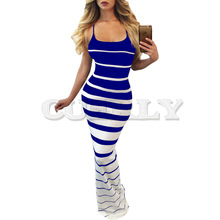 Cuerly 2019 New Women Summer Sexy Striped Slim Dress Off Shoulder Casual Bandage Bodycon Evening Party Long Maxi Skinny