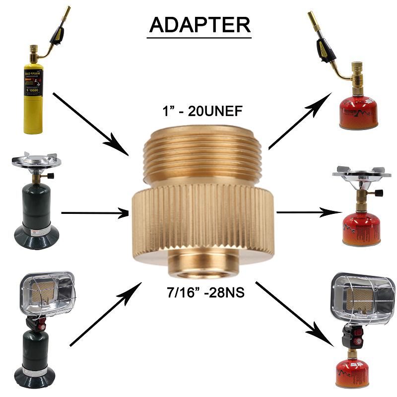 Camp Gas Stove Adapter1-20 UNF Convertor Lindal Valve Canister to7/16-28UNF Green Propane Tank or Welding Torch MAPP Cans