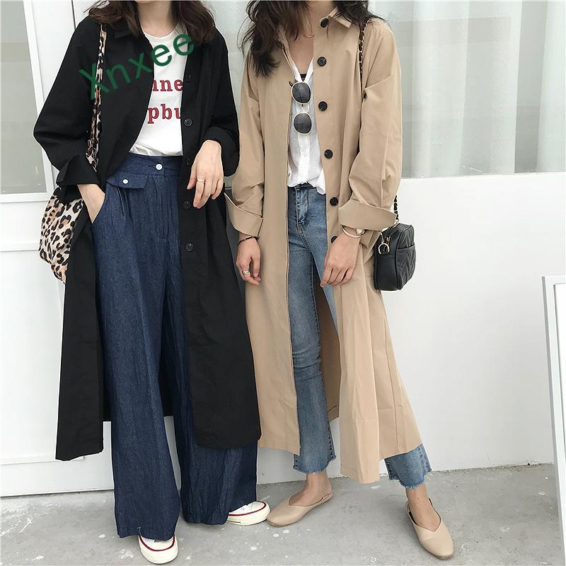 Xnxee 2019 Spring Autumn Long   Jacket   Womens Streetwear Black Khaki Loose   Basic     Jackets   Coats Ladies harajuku Outerwear