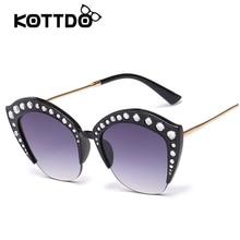 5f83a736d7af3 نصف إطار النظارات الشمسية النساء الرجعية مصمم الأزياء المعتاد إطار شفاف  عدسة خمر الماس الشمس للإناث UV400