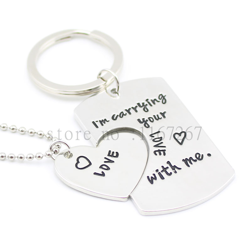 2016 new arrive I 'm Carrying Your Heart love with me Jewelry HandStamped DogTag Keychains &necklace Matching Couple's Gift