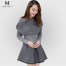 Fashion Black Solid Lady Women Winter Bodycon Dress Sweater long Sleeve Cotton Party Girl Knitted O-neck Sweet Robe Clothing