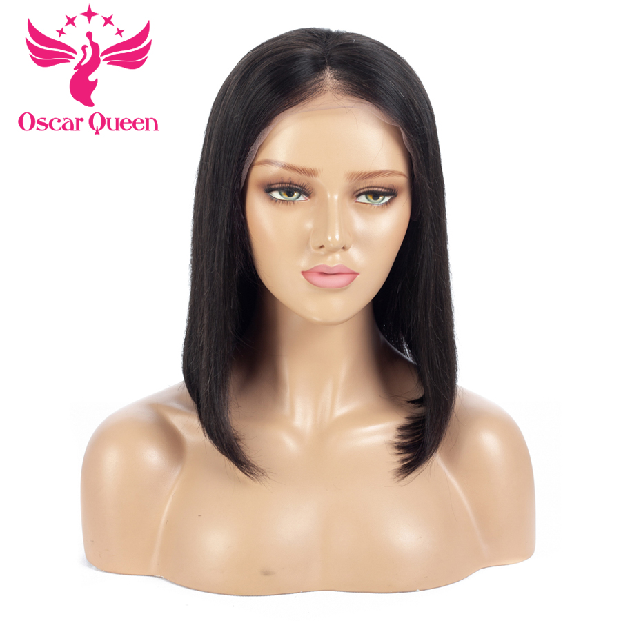 Short Bob Wig Straight Lace Front Human Hair Wigs Indian Remy Hair With Baby Pre Plucked Natural Hairline Natural Color 1b #1