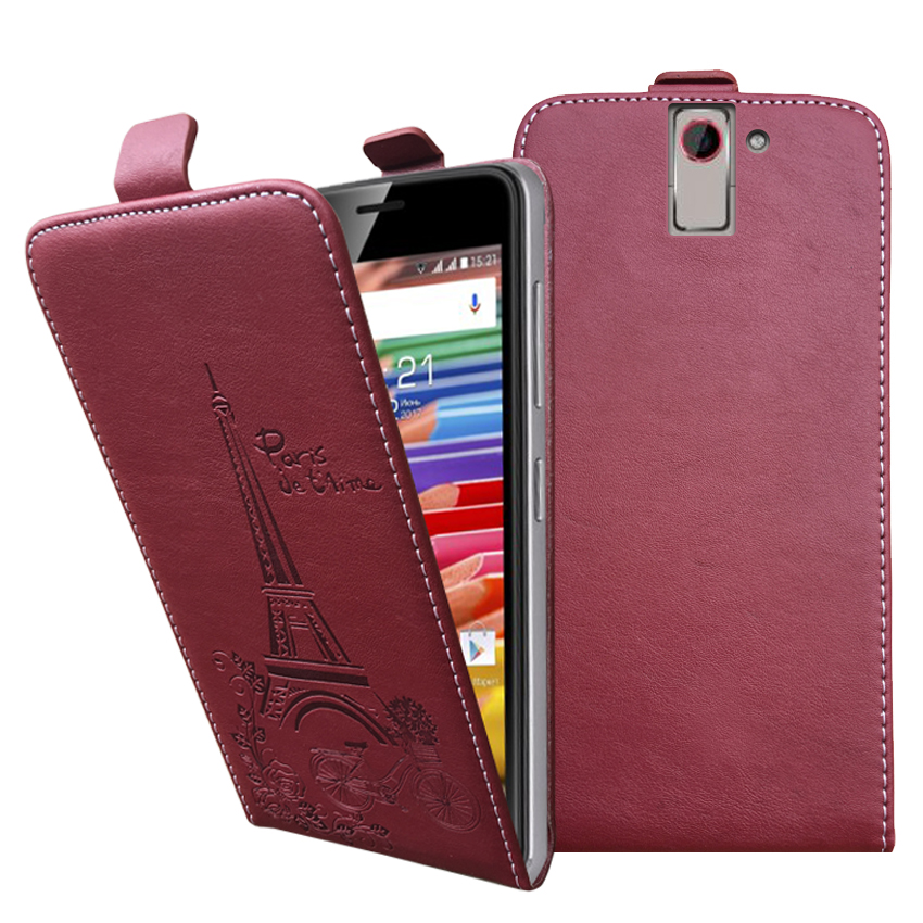 Embossed Pairs towel up and down pu leather flip case Flip Cover Open Phone Bags for Senseit E400