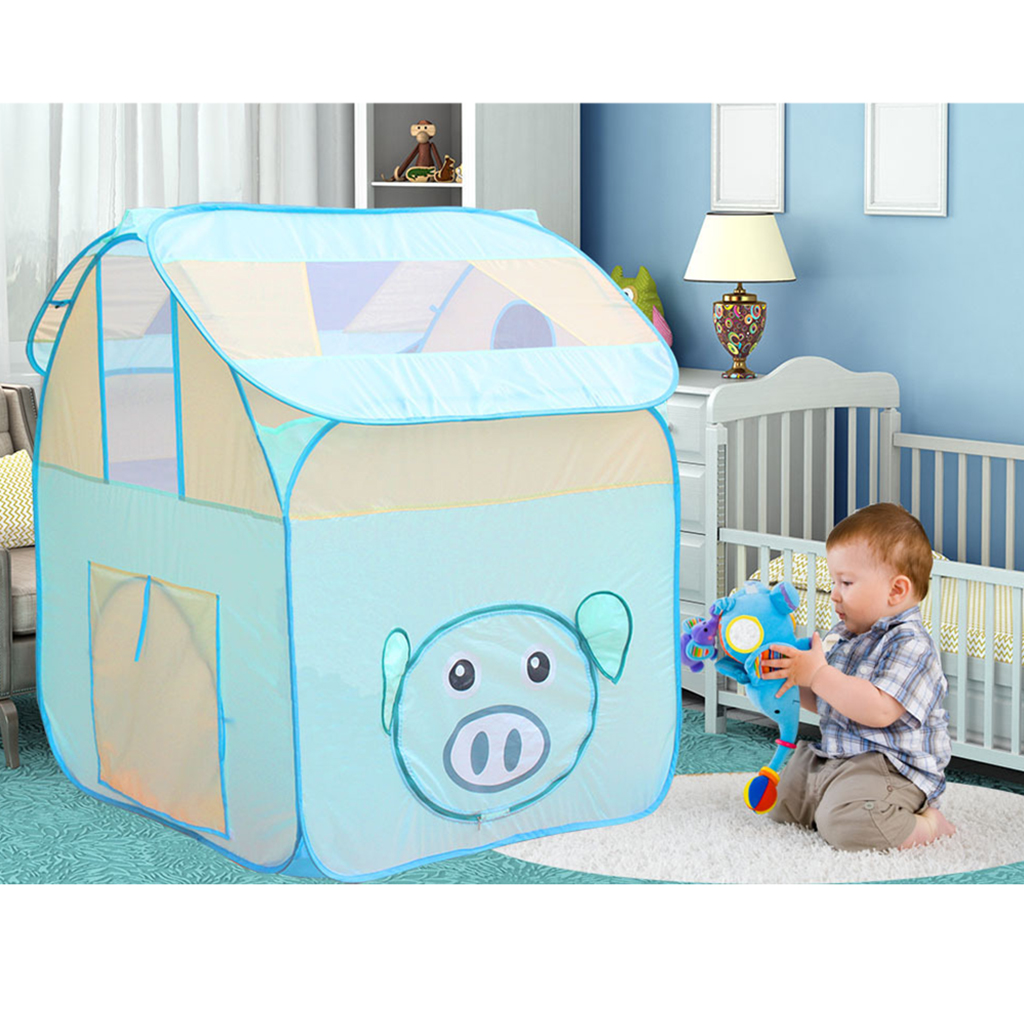 Cartoon Pig Cubby Style Play Tent, Pop Up Play House Tent Castle Toy Nursery Hut Ocean Ball Pit Pool Kids Indoor & Outdoor Game