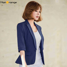 HanOrange Slim 3 Quarter Sleeve Single Button Pocket OL Women Blazer Jacket White/Dark Blue/Sky Blue S/M/L/XL/XXL/XXXL