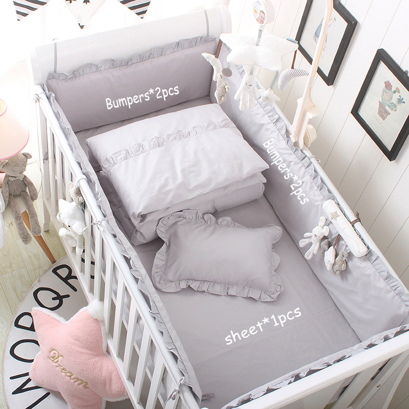 Cotton Breathable Baby Bed Bumper Cot Anti-bump Newborn Crib Liner Set Safe Pad 4pcs Crib Bumpers Bed Cover Boy Girl Unisex Grey