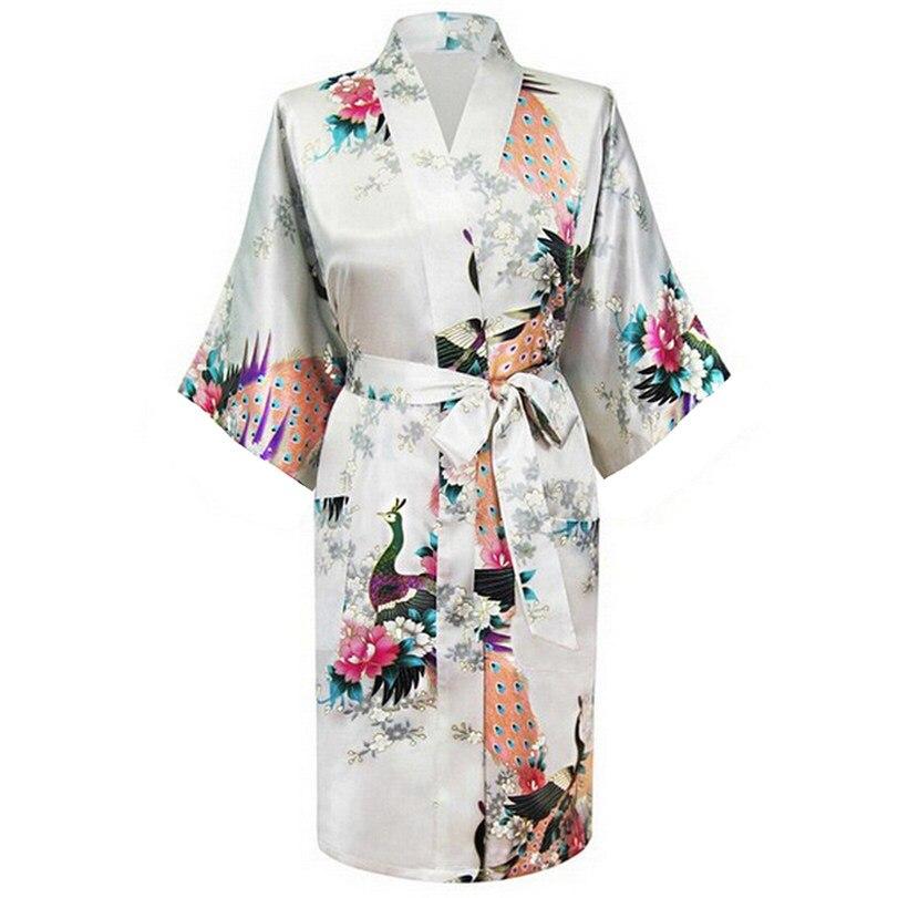 White Fashion Womens Peacock Kimono Bath Robe Nightgown Gown Yukata Bathrobe Sleepwear With Belt S M L XL XXL XXXL KQ-9