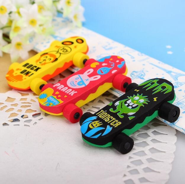 24pcs/lot Creative Cute Kawaii Skateboard  Eraser  Funny Students' Gift Kids's Puzzle Toy Office School Stationery