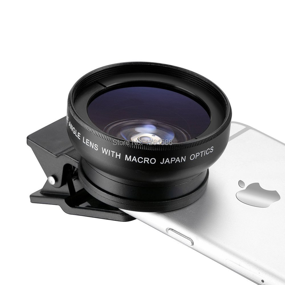 Universal Professional HD Camera Lens Kit for Iphone , Samsung Galaxy  Mobile Phone (0.45x Super Wide Angle Lens + 12.5x Super Macro Lens + 37mm Thread Clip Holder)-b1