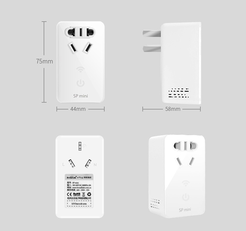 4--Broadlink SP Mini Wifi Smart Socket Remote Control by Phone Wireless Power Plug timer+extender time Home Automation System-