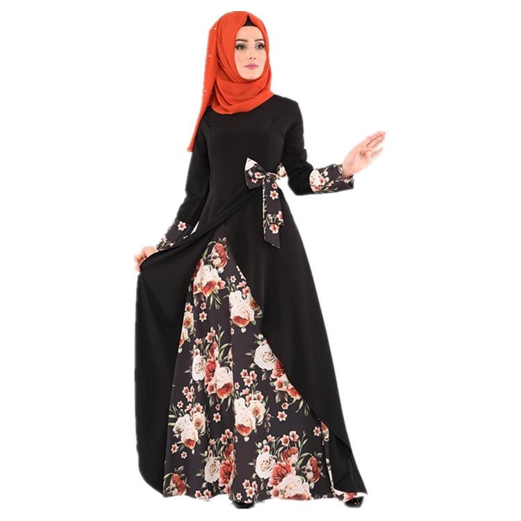 Ramadan Elegant Adult Muslim Dress Patchwork Bow Printed Arab Robe Turkish Abaya Dubai Women Dresses Islamic Clothing HF1105