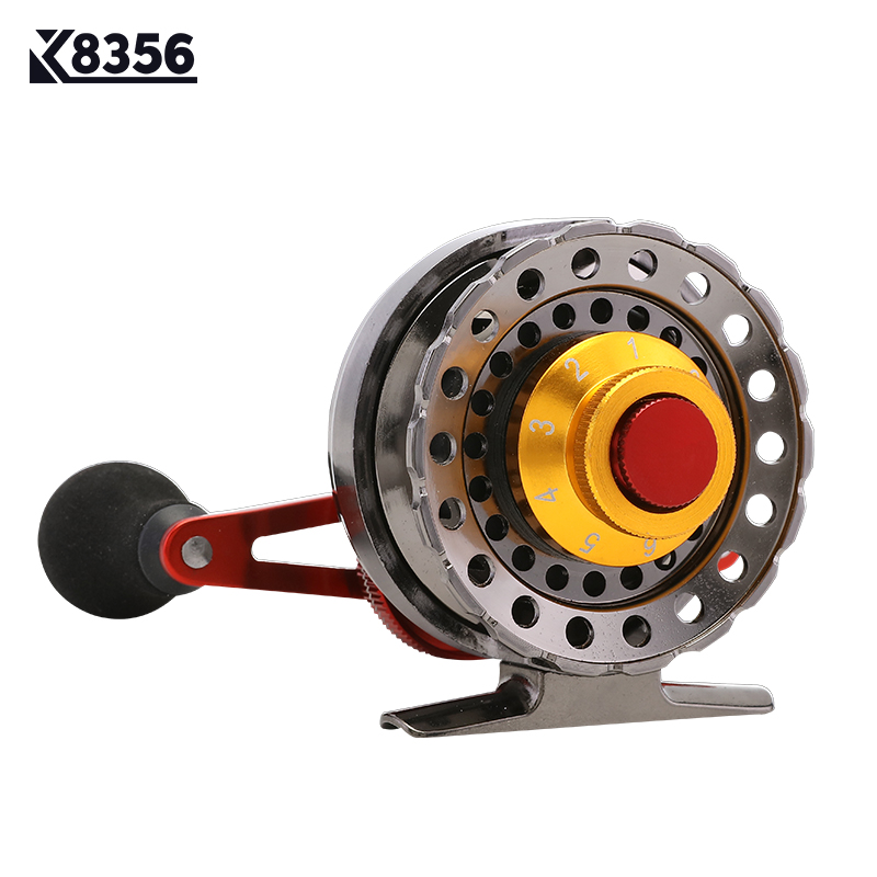 K8356 Metal Fishing Rafts Fly Fishing Reel 6+1BB 2.6:1 Red Left/Right Hand Bait Casting  ...