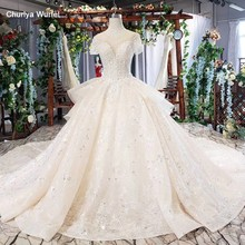 HTL636 luxury wedding dress with crystal and sleeves illusion o-neck lace up back bride gown dress long vesrido de noiva sereia(China)