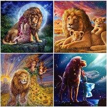 Diamond Embroidery Lion Head Full Square Drill Painting Home Decoration Mosaic Cartoon Animal king Hugs Cross Stitch