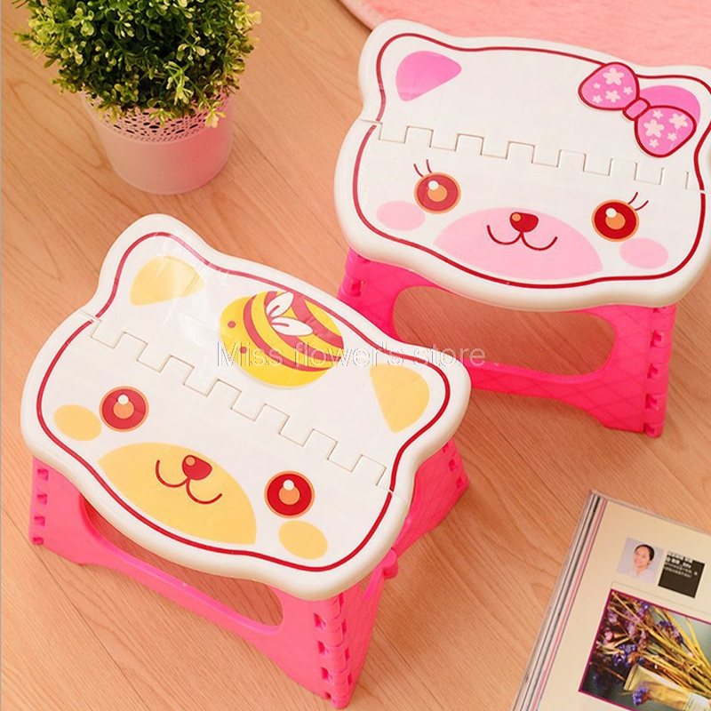 Cute Cartoon Plastic Folding Step Stool For Children Indoor Outdoor Camping Foldable Portable Bench Home Chair