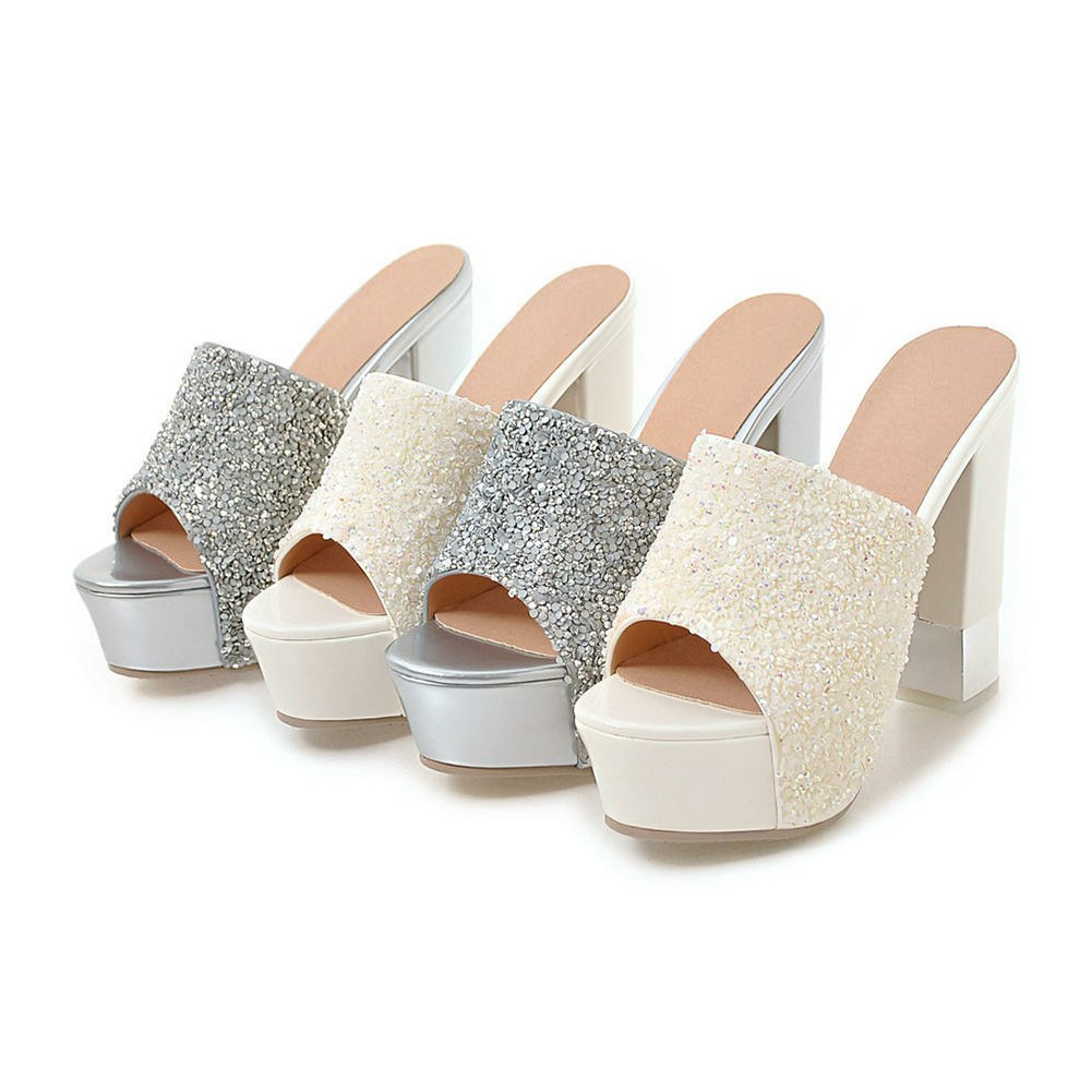 4ce2b6b4ccd9b DORATASIA Brand Sexy Glitters Platform Mules Women Summer 2019 Solid White  High Heels Shoes Woman Large Size 32 43-in Women's Pumps from Shoes on ...