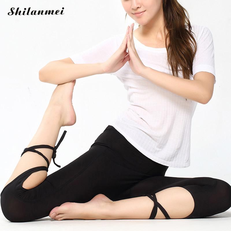 Women Bandage Elastic Yoga Pants Fitness Sport Leggings Cross High Waist Gym Leggins Dance Running Tight Cropped Pant Sportswear
