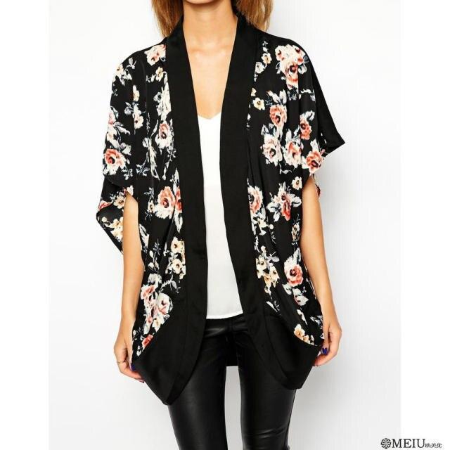 WB8451475# Women Black Flower / Floral Print Kimono Cardigan Satin ...