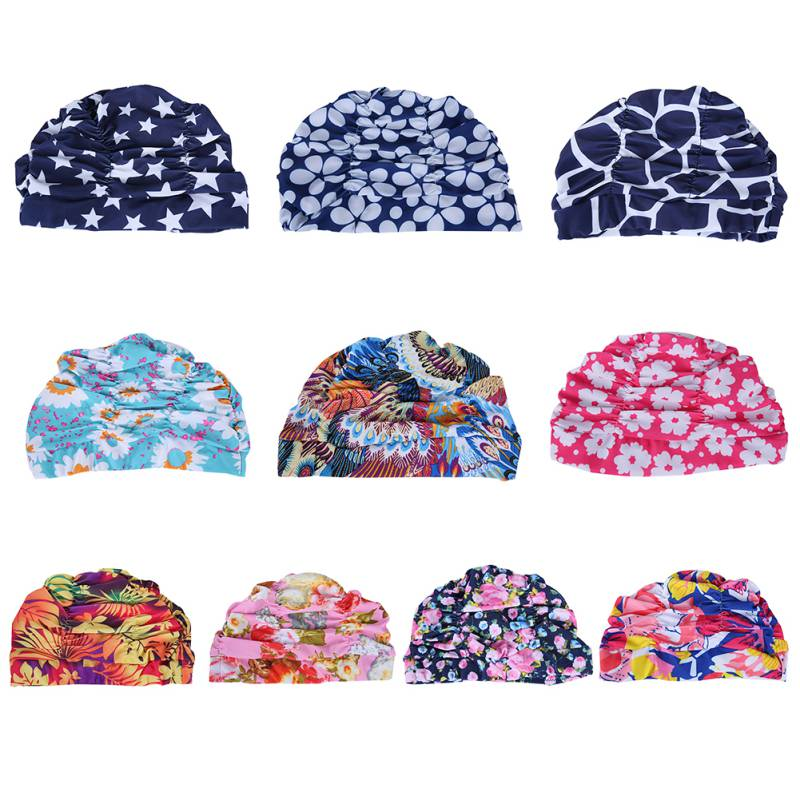 Girls Sexy Drape Stretch Long Hair Swim Caps Hat Bathing Cap Swimming Hat Star Floral Pattern floral pattern wide brim oversized summer hat