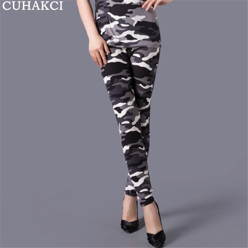 CUHAKCI Camouflage Printing Legging Stretchy Trousers Floral Printed High Waist Push Up Leggins Casual Pants Womens Leggings
