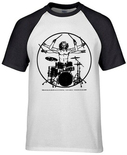 93cec213bf400 Da Vinci Baterista de Rock Camisetas Hombre De Vitruvio Jugador Guitarra  Banda de Tambores Tees Tops