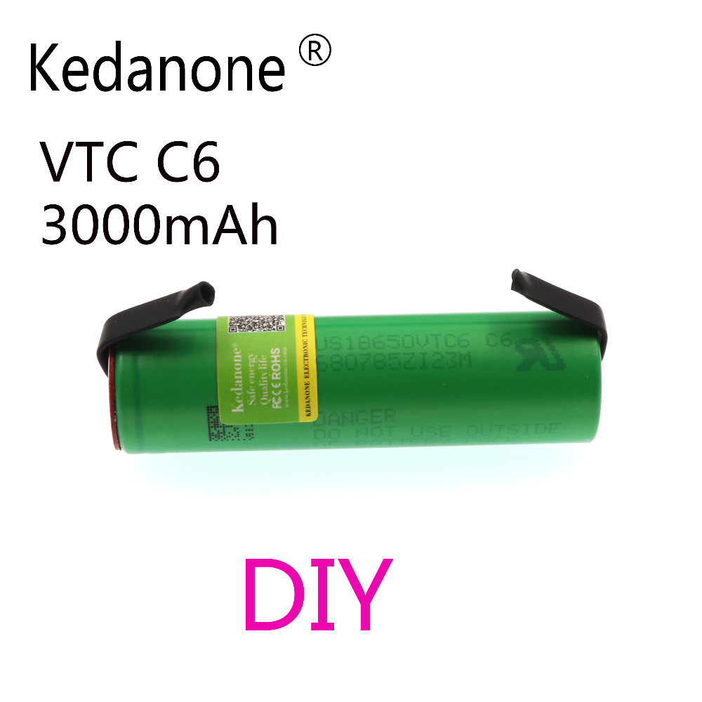 Original VTC6 3.7V 3000mAh 18650 Li-ion Battery 30A Discharge For Sony US18650VTC6 Tools E-cigarette Batteries+DIY Nickel Sheets