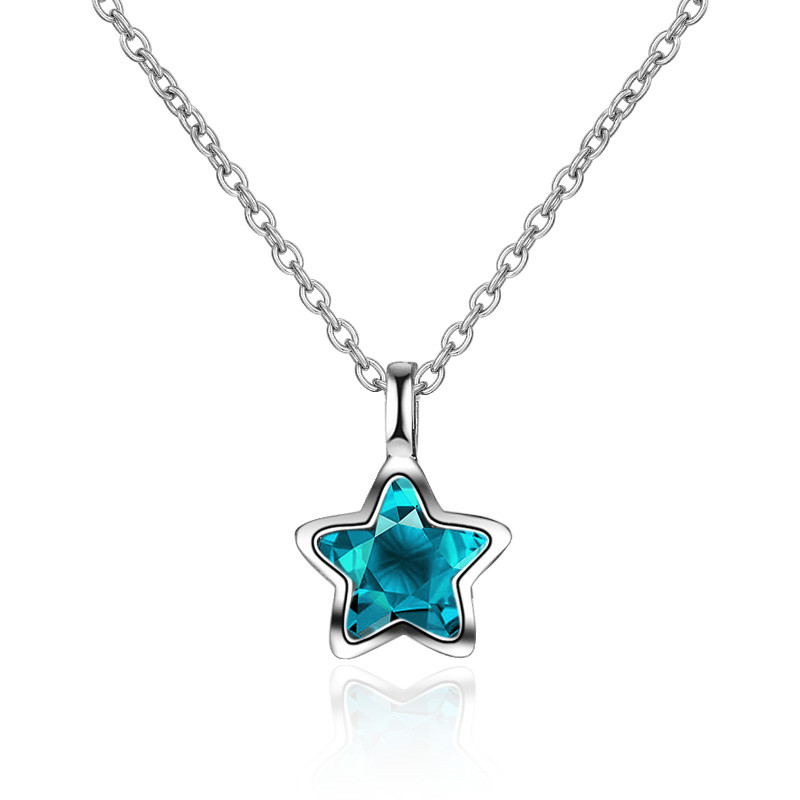 TJP Trendy Blue Star Pendants Necklace For Women Party Accessories Charm Silver Lady Choker Necklace For Girl Christmas Jewelry