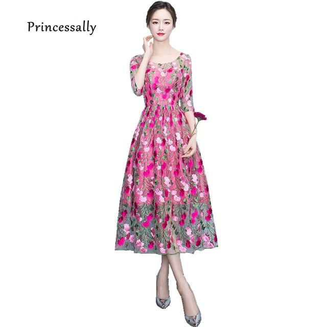 New Evening Dress Hot Pink Tea Length Full Flower Embriodery Illusion Half Sleeve Elegant Prom