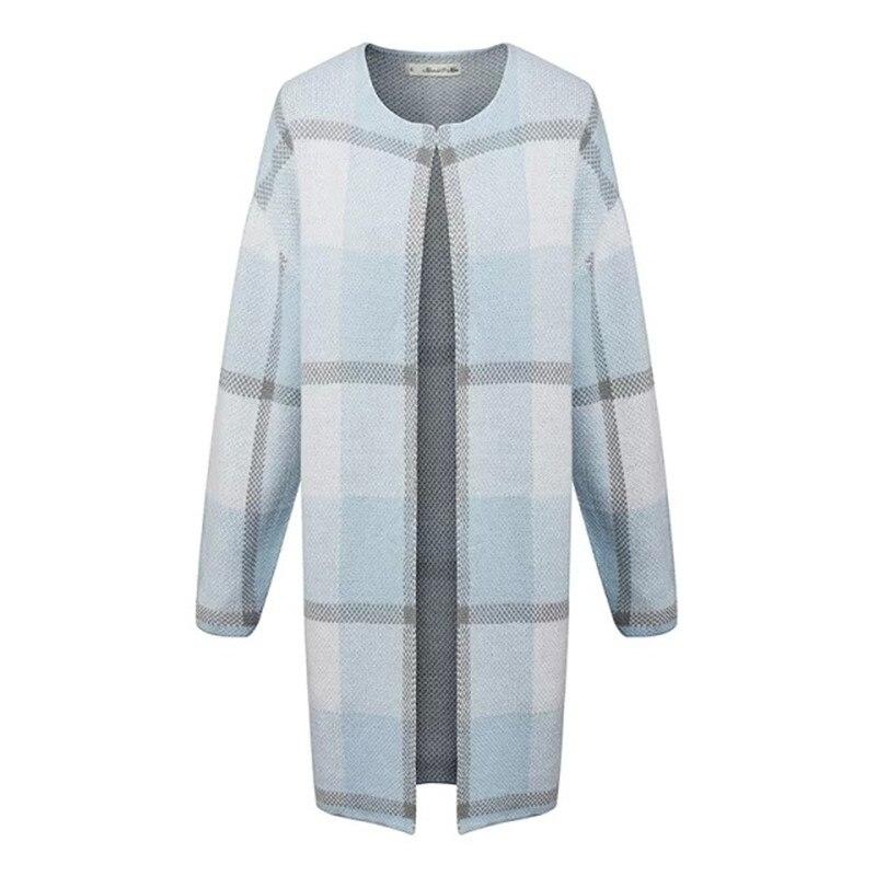 2016 Brand New Fashion Autumn Fashion Women Blue Plaid Casual Cardigan Single Button O neck Long