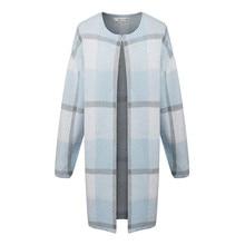 2016 Brand New Fashion Autumn Fashion Women Blue Plaid Casual Cardigan Single Button O-neck Long Sleeve Long Sweater b038