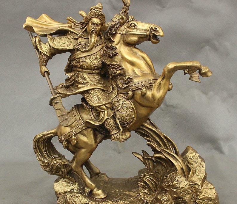 11 Folk China Brass Wealth Dragon Warrior GuanGong GuanYu God Ride Horse Statue