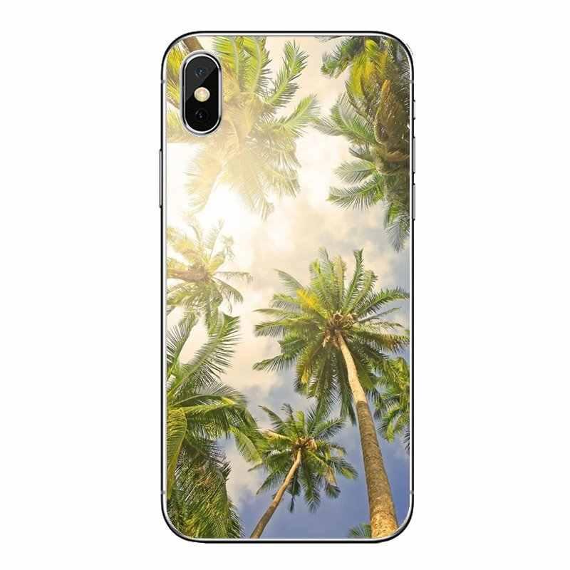 Đối Với Samsung Galaxy A5 A6 A7 A8 A9 J4 J5 J7 J8 2017 2018 Cộng Với Thủ TPU Trong Suốt Túi Trường Hợp màu giả Dừa Aloha Cây Cọ