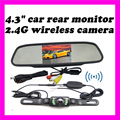 2.4g wireless backup camera, Wifi parking reversing camera 4.3 inch Rear view Mirror Monitor Car truck Rearview kit Video system
