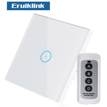 Eruiklink EU/UK Standard Wireless Control Light Switch, RF433 Remote Wall Touch Switch For Smart Home