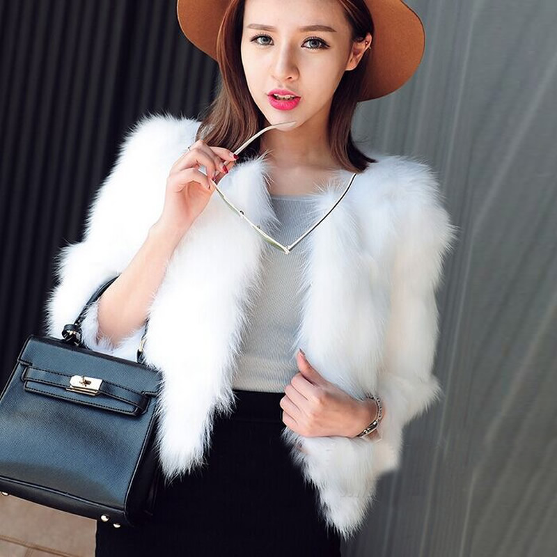 White fur coats for women