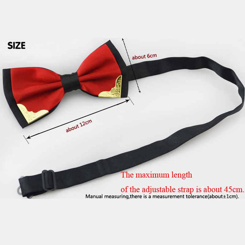 Luksusowy hotel butikowy moda Metal łuk krawaty dla mężczyzn kobiet Wedding Party motyl muszka Gravata Slim czarny łuk krawat krawat